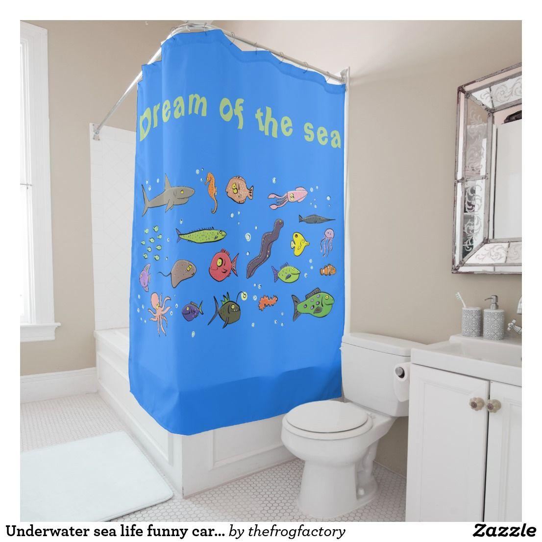 Underwater Sea Life Funny Cartoon Shower Curtain Zazzle Com