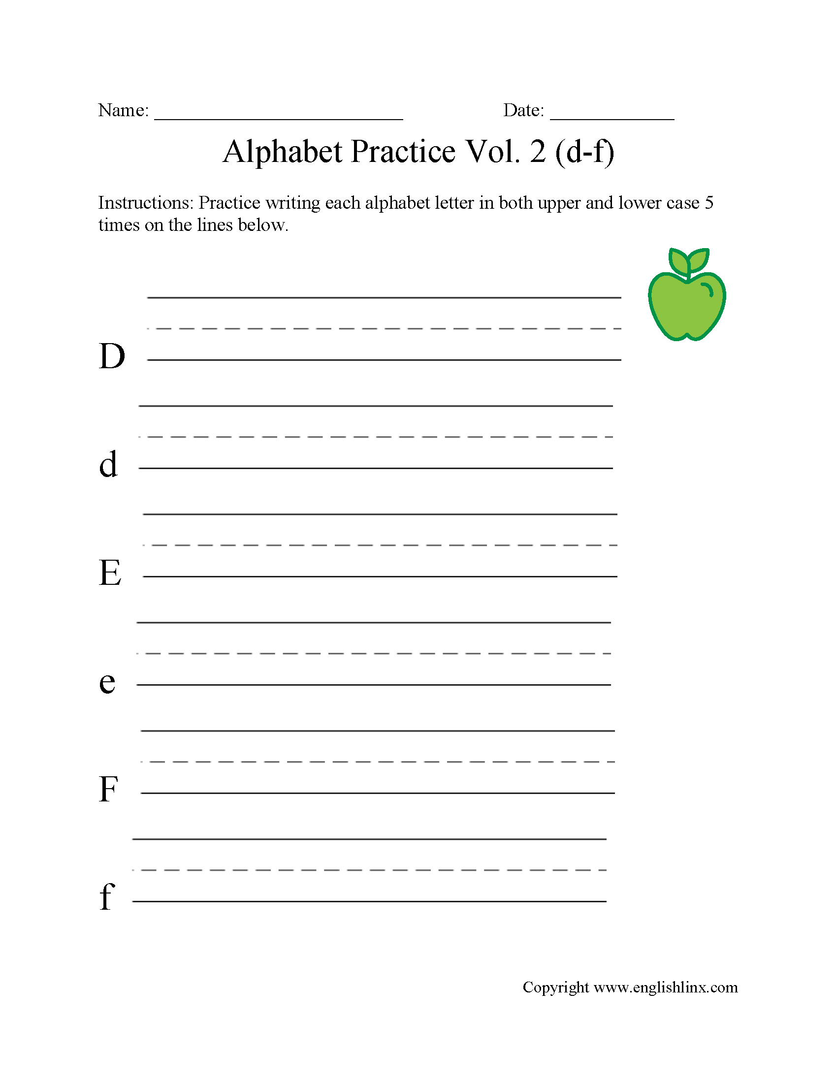 D To F Writing Alphabet Worksheet With Images