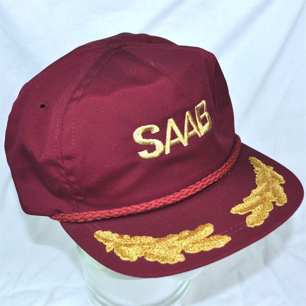 SAAB Oak Leaf Flat Visor Baseball Cap Hat Gold Embroidered Adjustable USA  Made  ImperialHeadwear  cord  baseballcap 07362d1fd25f