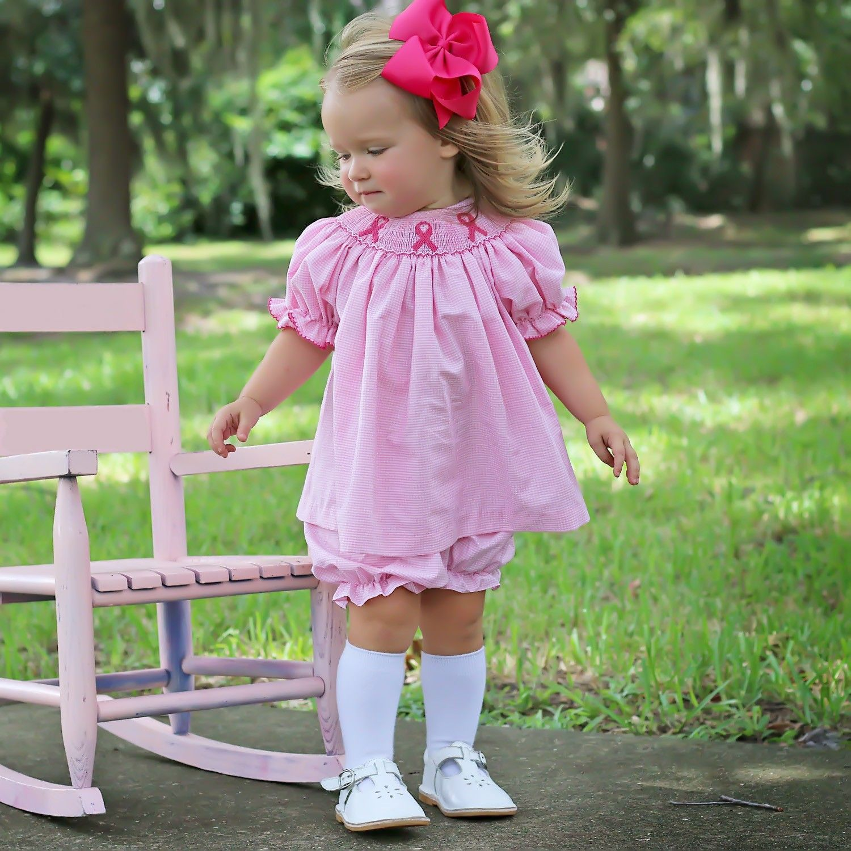 Pink Ribbon Smocked Bloomer Set Pink Gingham Pink