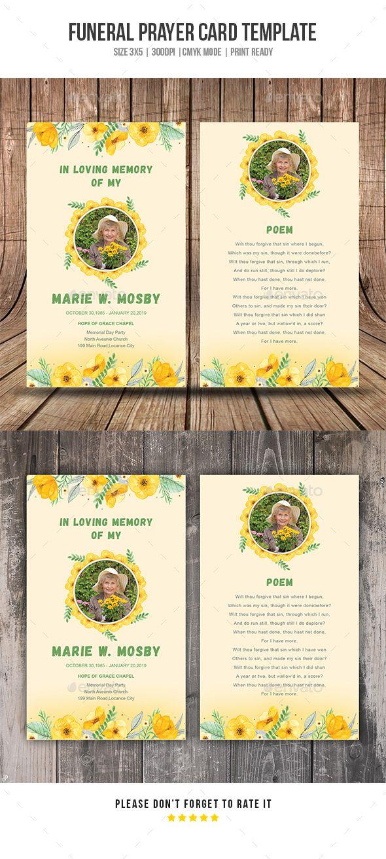 Funeral Prayer Card Template PSD | Card & Invite Design Templates ...