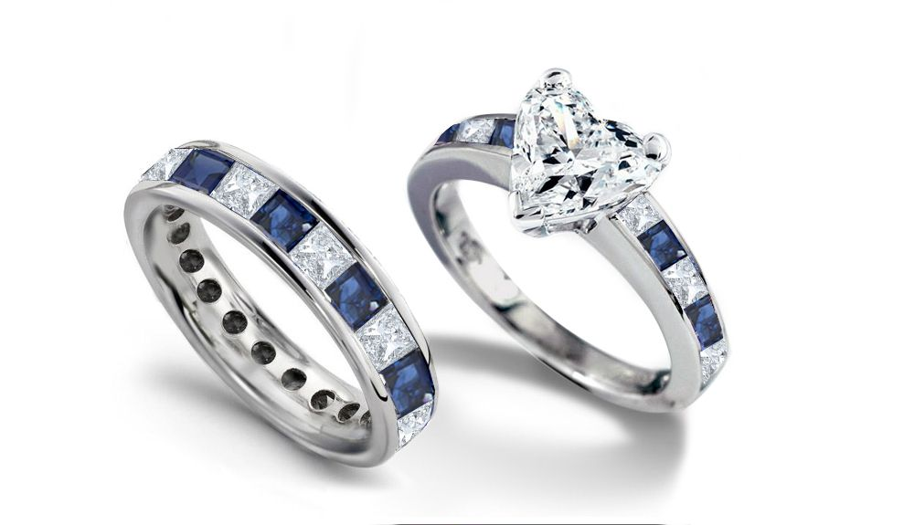 unique engagement wedding ring sets Diamond Princess Cut