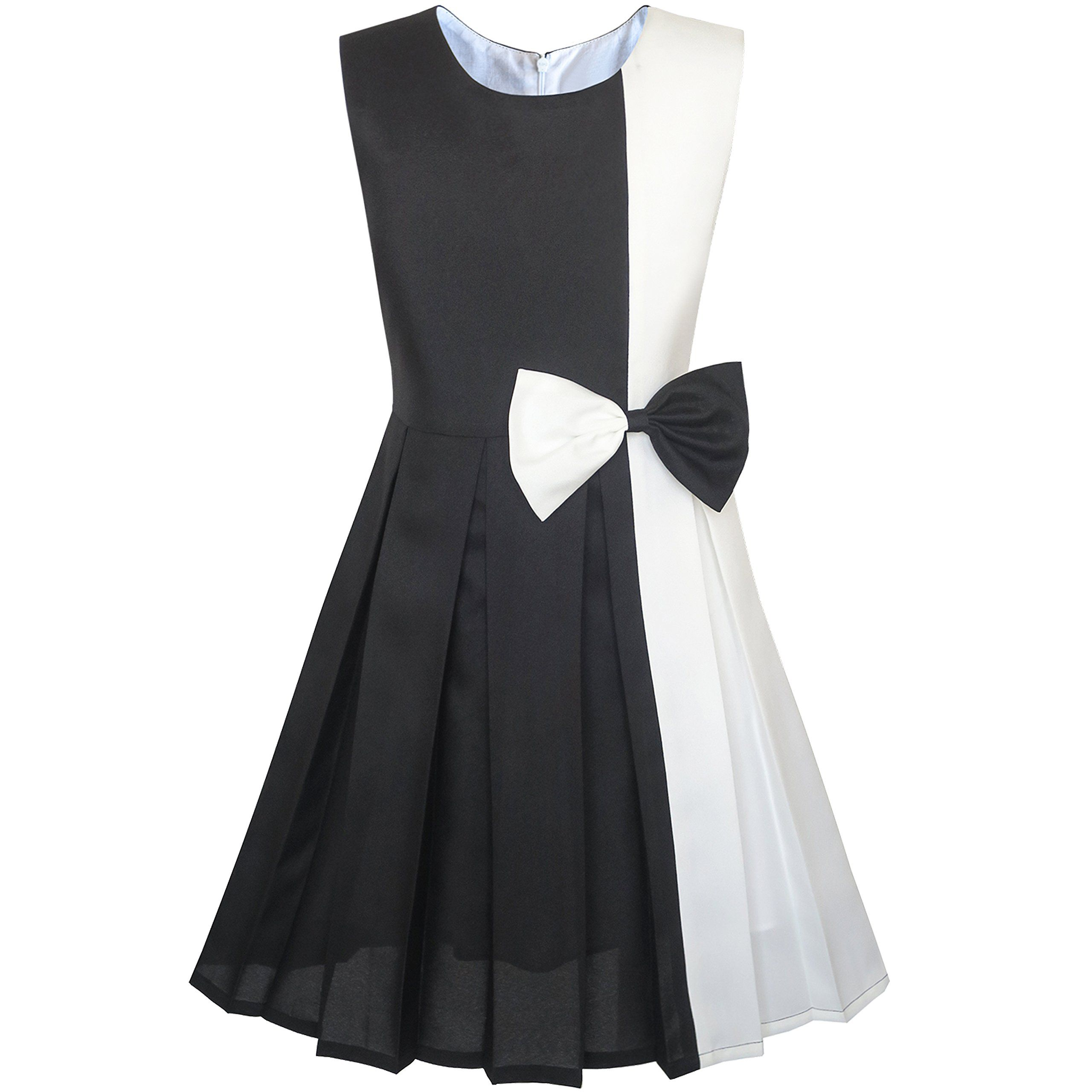 0b304063db7e KM87 Girls Dress Color Block Contrast White Black Bow Tie Size 12 ...