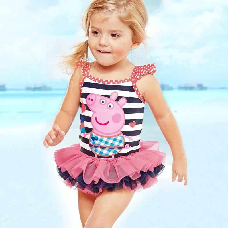 Cute Children Kids Baby Girl Cartoon Bikini Beachwear Swimsuit Romper Outfit Set
