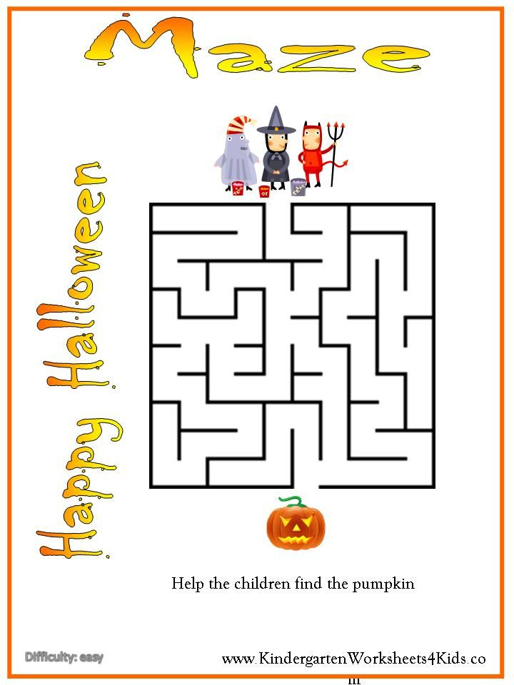 image regarding Halloween Mazes Printable titled Preschool Worksheet Halloween Maze Little ones guidelines