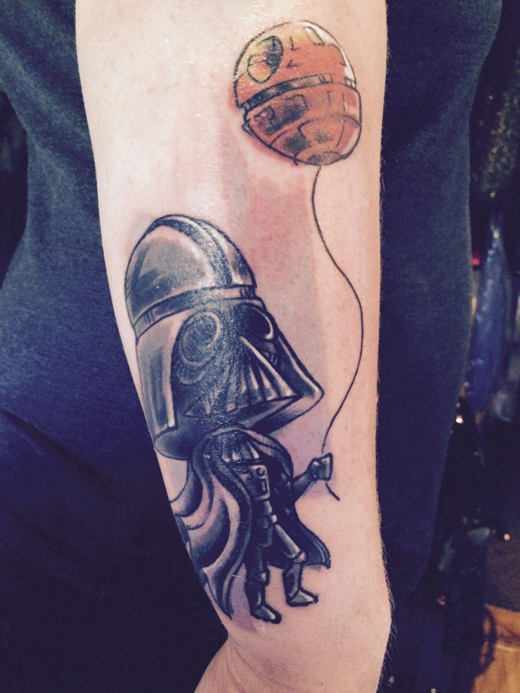 Darth Vader With Death Star Balloon Tattoo