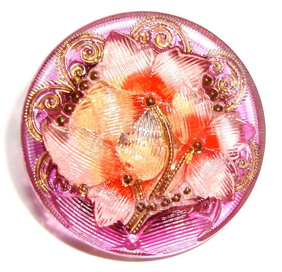 27mm Pink/Red/Purple Czech Glass Button with Gold Accents-Reverse Painted-Ivy Flower