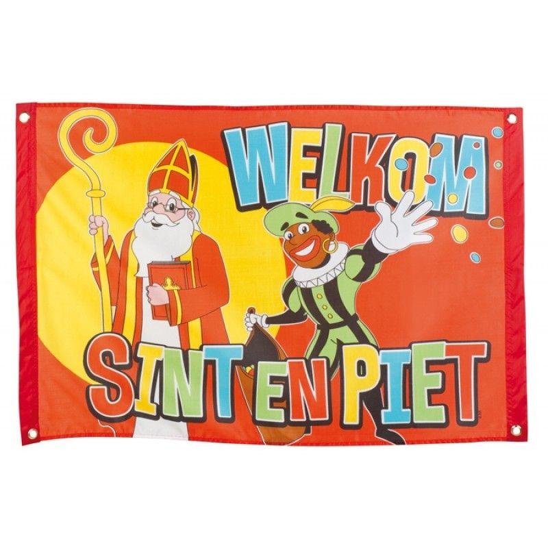 Welkom Sint en Piet vlag voordelig bestellen bij #sintenpiet