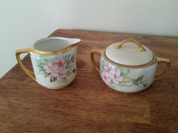 SALE  Vintage Hand Painted Sugar Bowl and Creamer by SimpleRoot