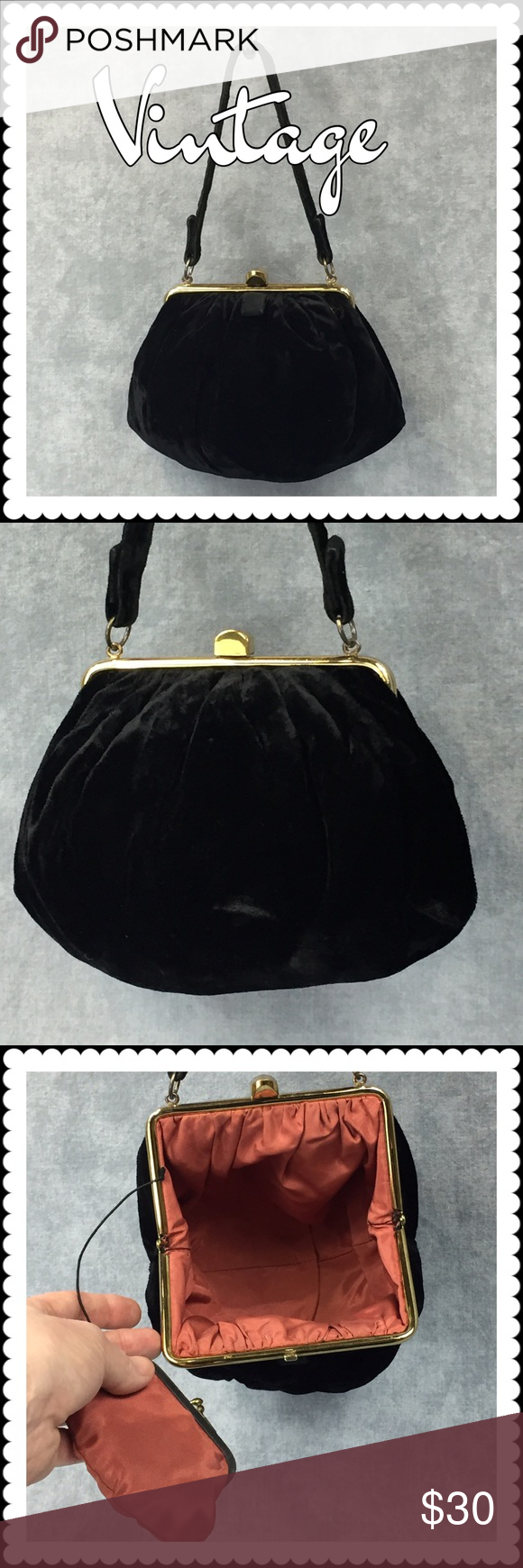 👜 Vintage Black Velvet Purse 👜 Vintage Black Velvet Purse 👜 Salmon colored silk interior, original attached coin purse, gold clasp closure. In excellent condition and a beautiful addition to an evening look. Stain, odor and snag-free. Vintage Bags Mini Bags