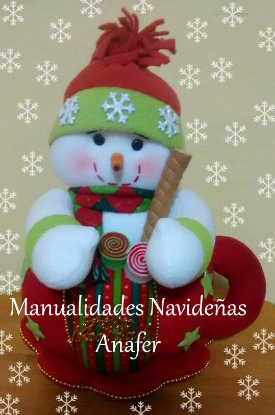 Hermosas tazas navide as elaboradas en tela polar de buena - Tazas decoradas a mano ...