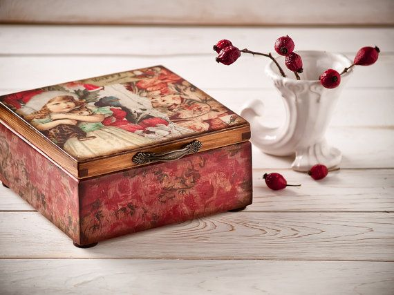 Christmas Wooden Tea Box Candy Storage , Kitchen Holiday Table Decor Christmas Gift , Hostess Gift , Home Recipe Red Vintage box Shabby chic on Etsy, $69.26
