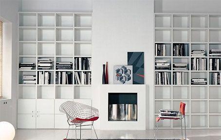 modern built in bookshelves - Google Search