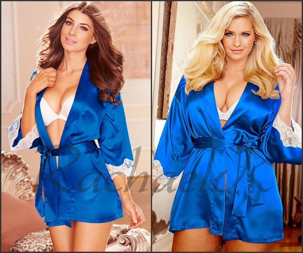 Sexy Women's New Semi Stretch Plus Size Blue Satin Look Robe Lace Cream Trimming