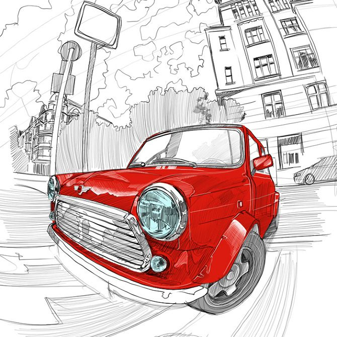Mini cooper fisheye mustafasoydan art ilustration inspiration pinterest voiture - Coloriage voiture mini cooper ...