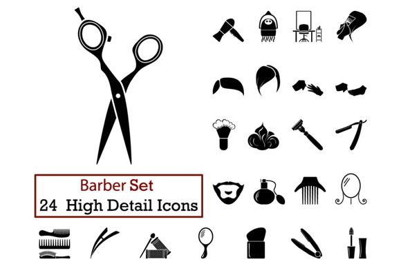 24 Barber Icons by angelp on @creativemarket