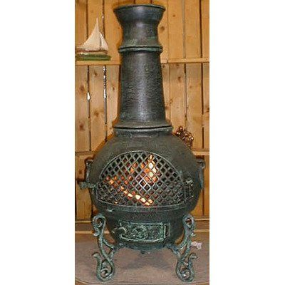 Gatsby Style Chiminea Color Antique Green Chimineas Chiminea