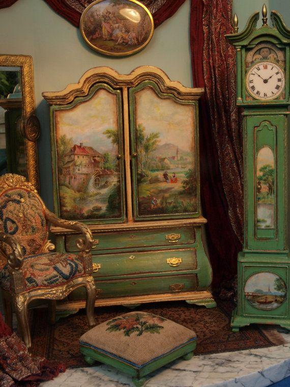 12th scale miniature room scene with furniture by GaleElenaBantock