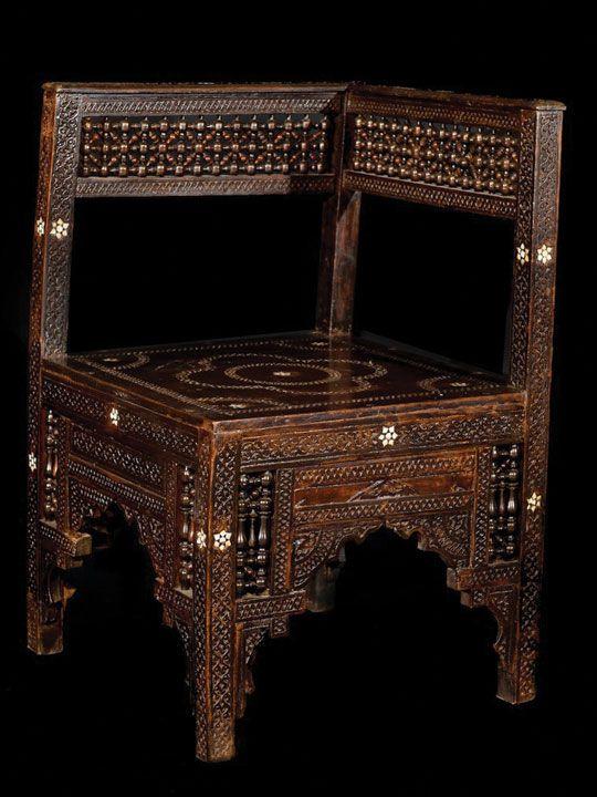 Arabesque Antique Corner Table | The Odd Piece - Arabesque Antique Corner Table The Odd Piece Arabesque Inlaid