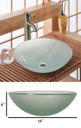 Amazon.com: Tempered Glass Vessel Sink Vanity Bathroom Bath Sink Premium  Quality, SKY