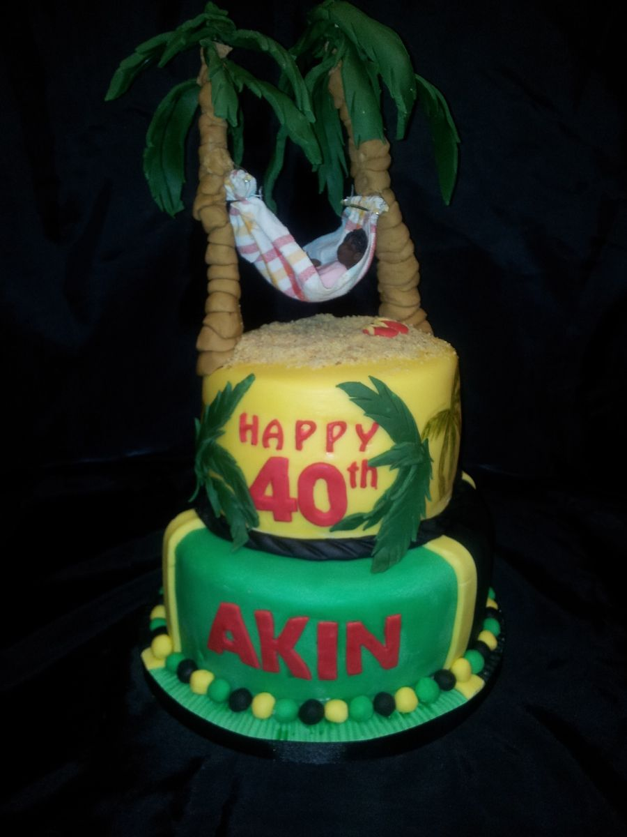 Astounding 40Th Birthday Cake Jamaican Themed With Images 40Th Birthday Personalised Birthday Cards Paralily Jamesorg