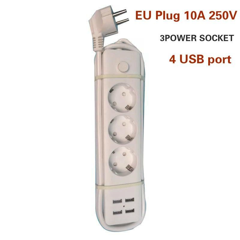 Fast Charging 4 USB + 3 Power Sockets EU Standard Plug 1.8M Power Cord  Smart Home Electronic Power Strip Surge Protector Socket.