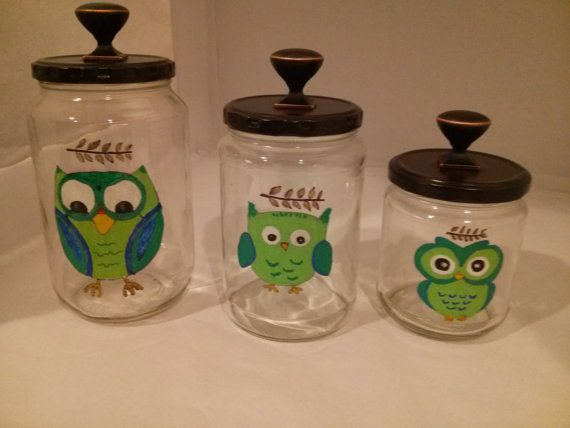 Owl Canister Set OOAK Hand Painted With Oil By FochtmanCrafts