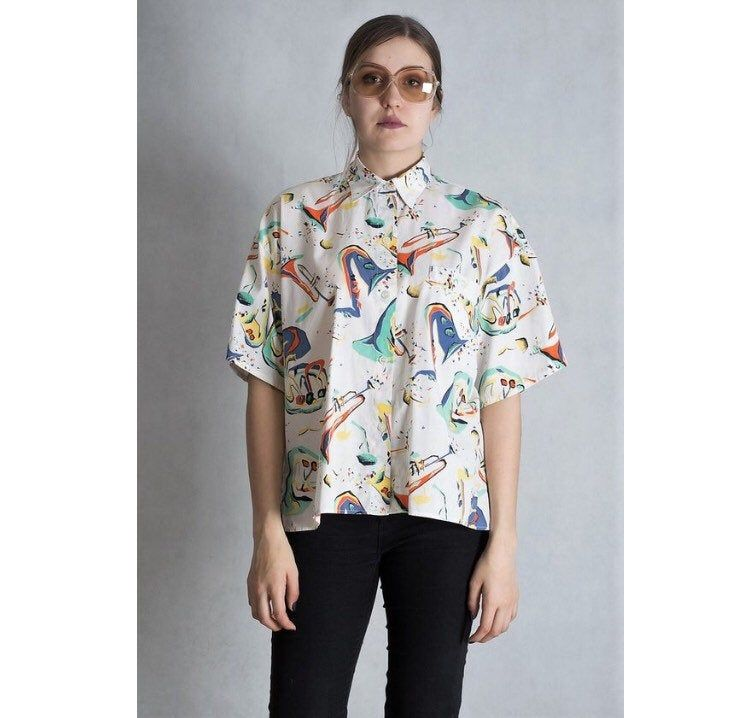 Short Sleeve 90s Graphic Colorful Abstract Womens Blouse Etsy Blouses For Women Vintage Outfits Women