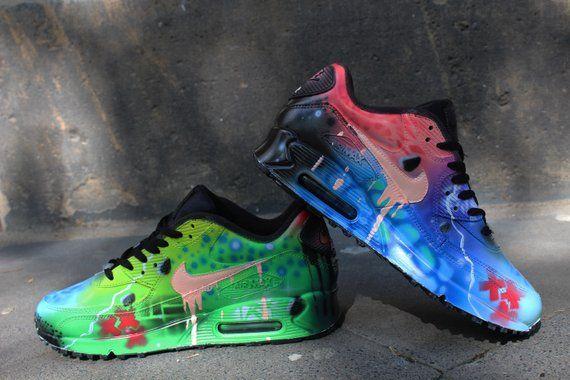 e68bb7581d9314 Custom Airbrush Painted Nike Air Max 90 Crazy Funky Colours  UNIKAT ...