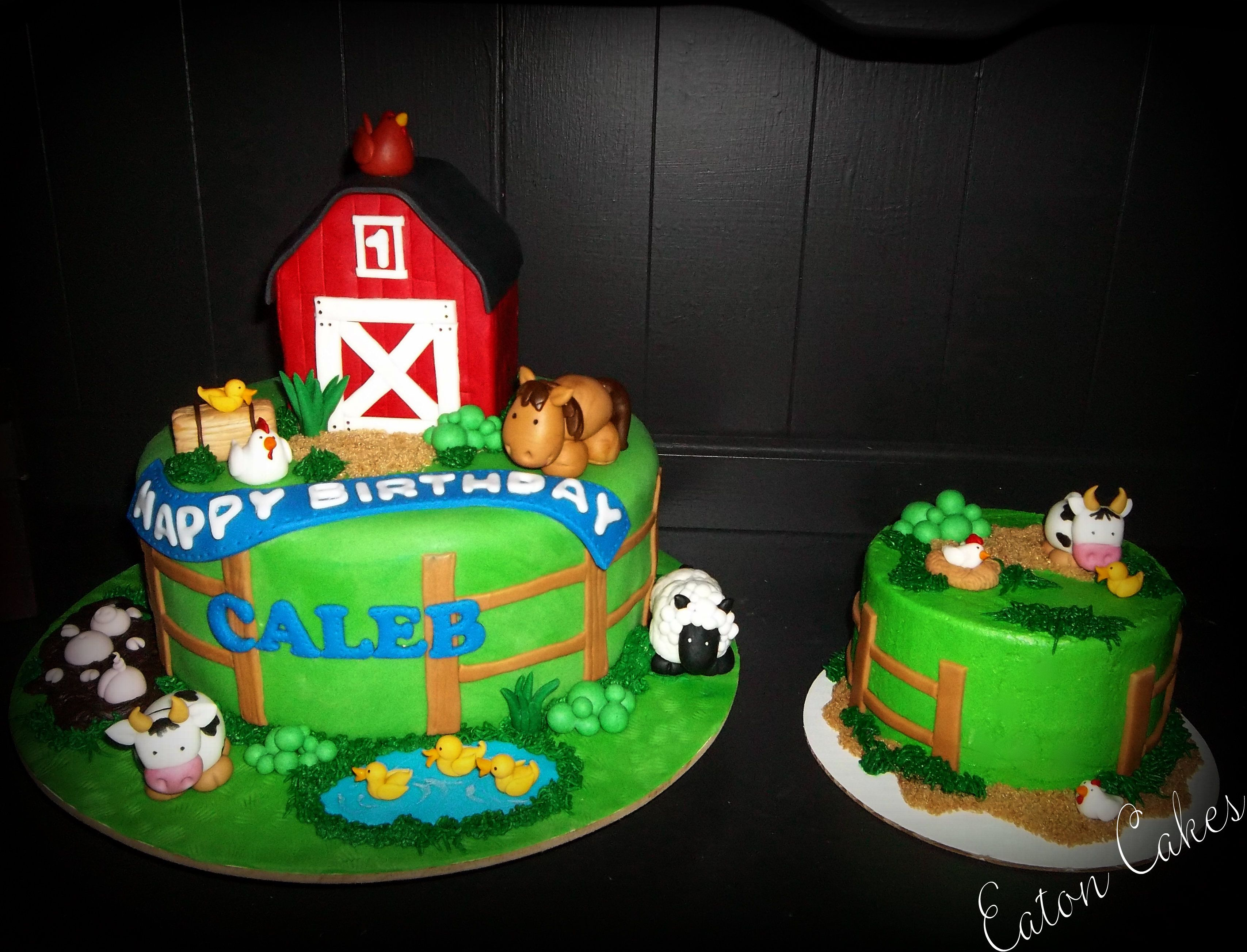 Terrific Farm Themed Birthday Cake With Matching Smash Cake With Images Funny Birthday Cards Online Sheoxdamsfinfo