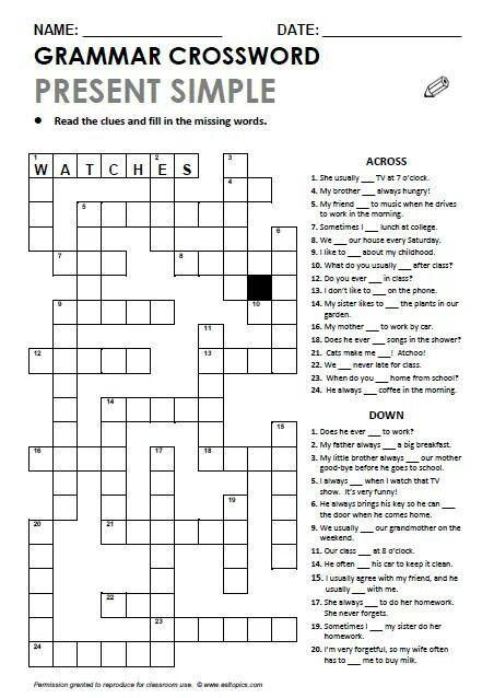 Present Simple Grammar Crossword Fill In The Missing Letter