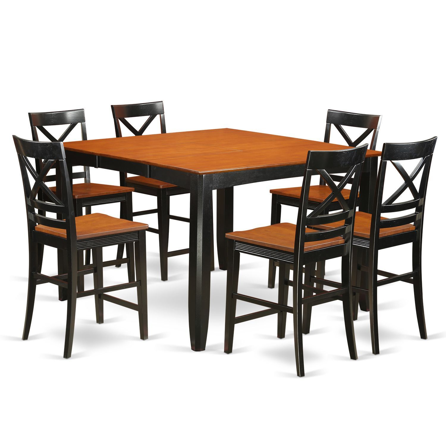 FAQU7H BLK W 6 stool 7 piece Counter height Dining Table Set
