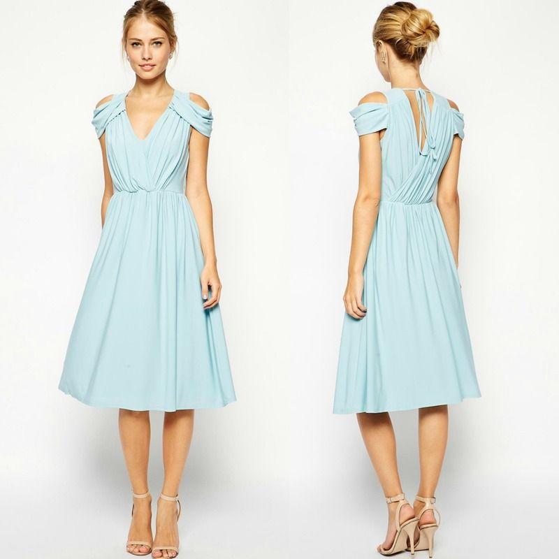 335a201f6 vestido azul claro barato para una invitada a boda de otoño invierno ...