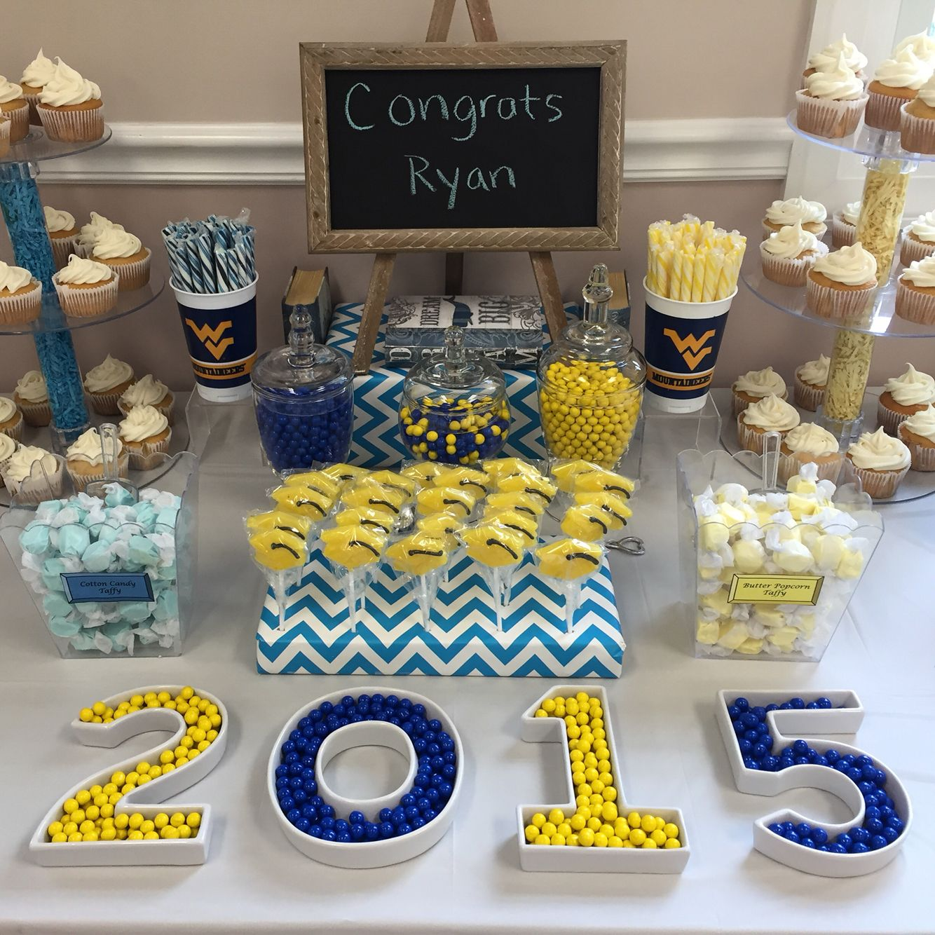 graduation candy buffet yellow and blue