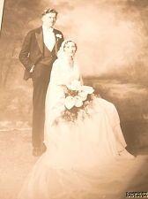 Photo 1930's WEDDING Couple Bride Groom Musgnug / Hoffman - Felton Bridal