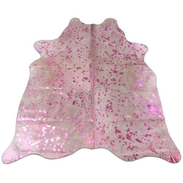 Pink Cowhide Rug Size 5.5 X 5 Ft Pink Metallic Acid Washed on ...