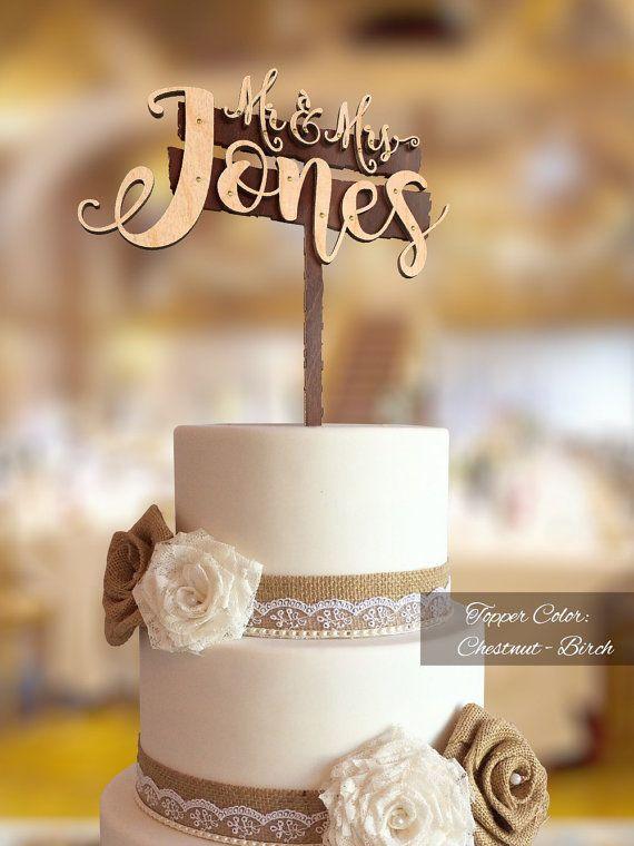 3D Wedding Cake Topper. FN263D. Mr and Mrs Custom Surname Cake Topper. Personalized Surname Wood Cake Topper. Rustic Wedding Cake Topper.