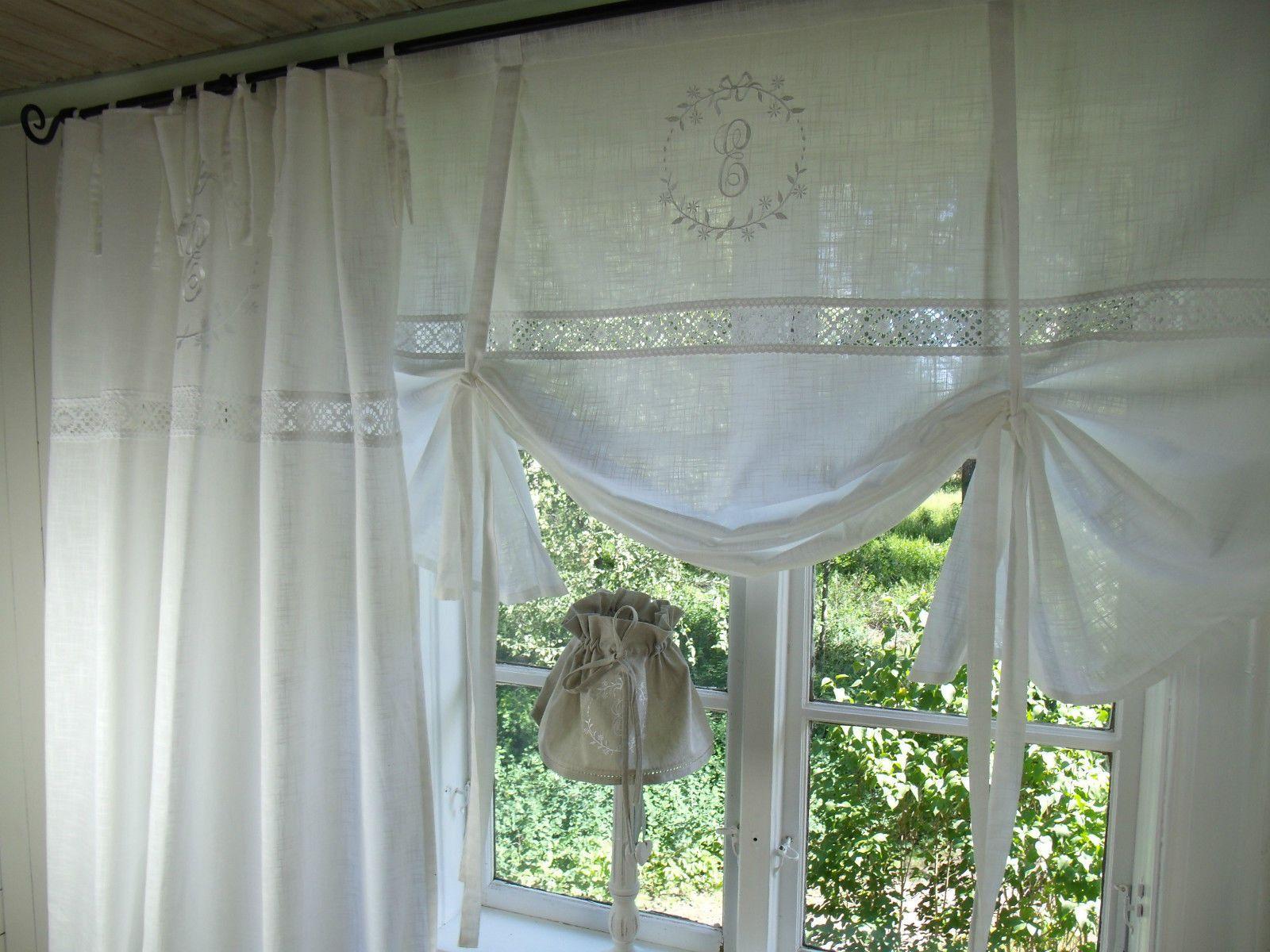 lillabelle crystal wei gardine vorhang monogramm shabby chic landhaus curtain ebay deko. Black Bedroom Furniture Sets. Home Design Ideas