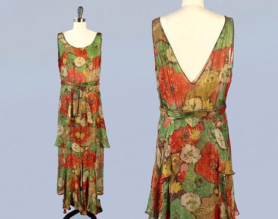 1930er Jahre Kleid 30er Jahren Unglaublich Bunte Metallic Lame