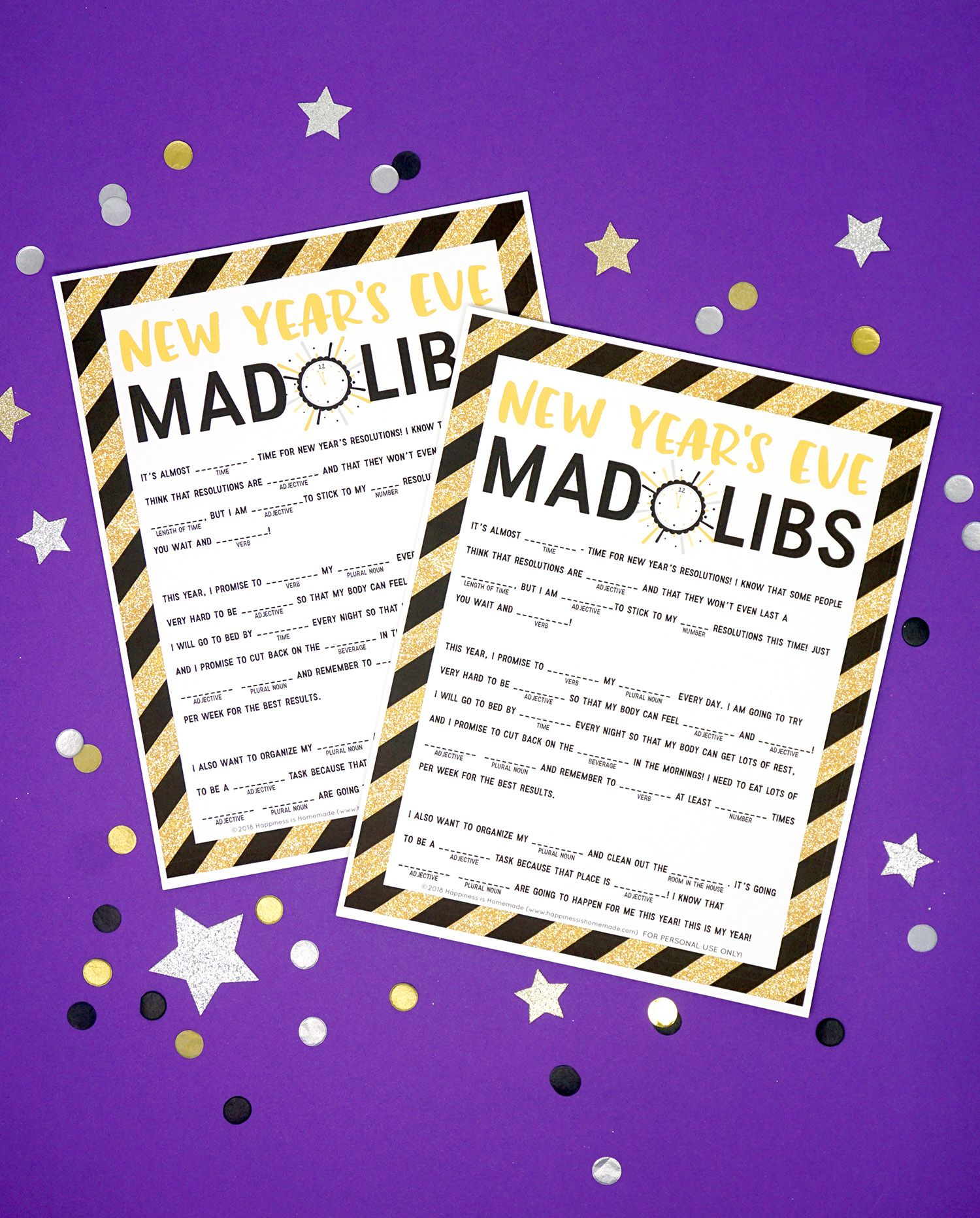 New Year S Eve Mad Libs Printable