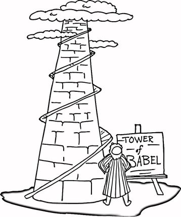 Tower Of Babel Coloring Page Supercoloring Com Tower Of Babel Sunday School Coloring Pages Bible Coloring Pages