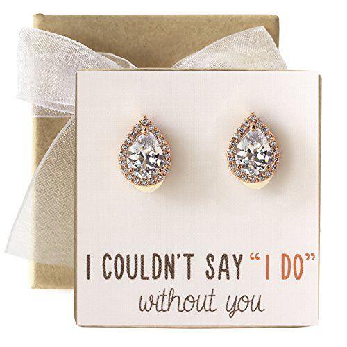 A+O Wedding Bridesmaid Jewelry Gift - Pear Teardrop Stud Post Or ...