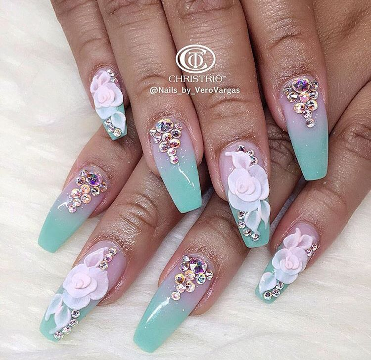 3d Nail Art And Crystals On Cotton Candy Colors Luxury Nails