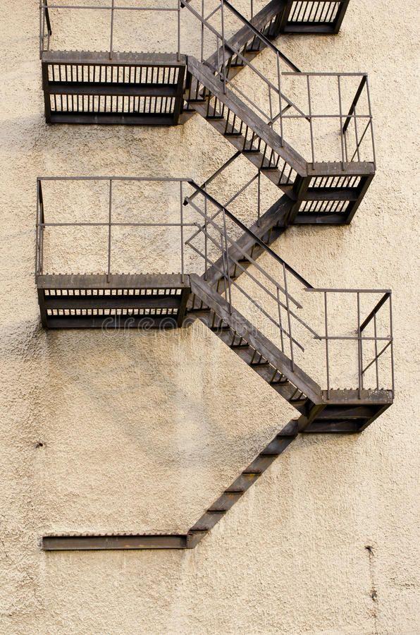 Best Old Building Metal Emergency Exit Stairs Down Royalty Free 400 x 300
