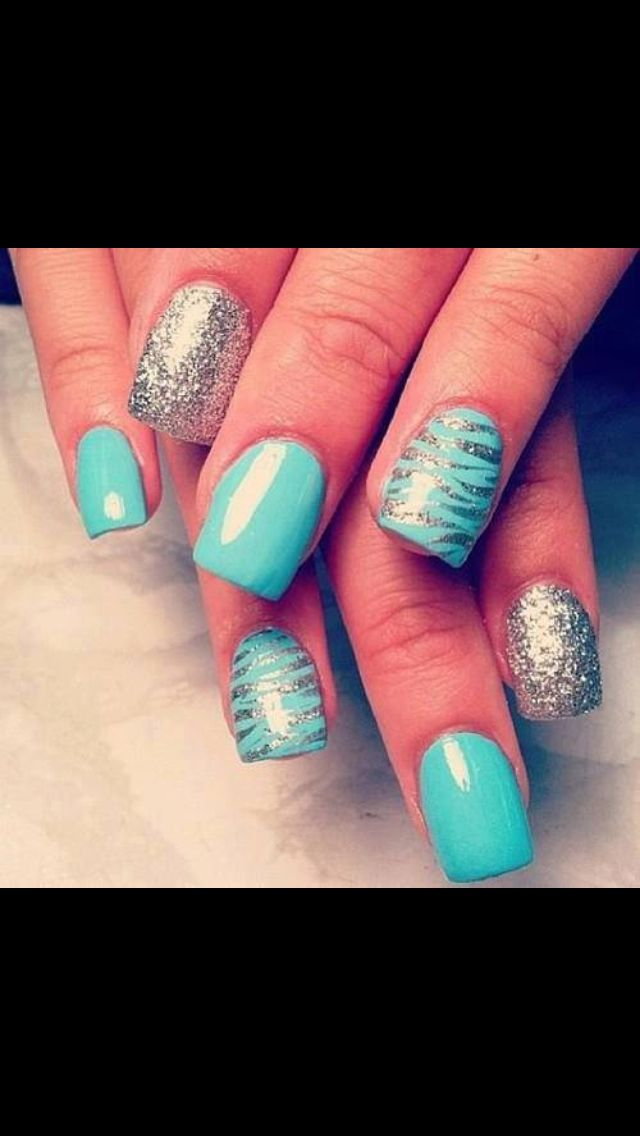 Light Blue And Silver Nails