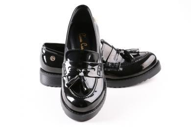 Pierre Cardin Kadin Oxford Comfort Rugan Siyah Loafer Ayakkabi Oxford Ayakkabilar Siyah