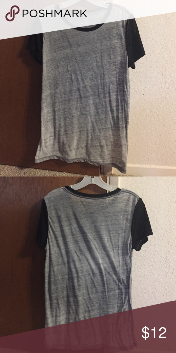 Almost new Black and gray American eagle t shirt Womens medium I only wore it a handful of times. Love the shirt but it's a little sheer for my taste. American Eagle Outfitters Tops Tees - Short Sleeve