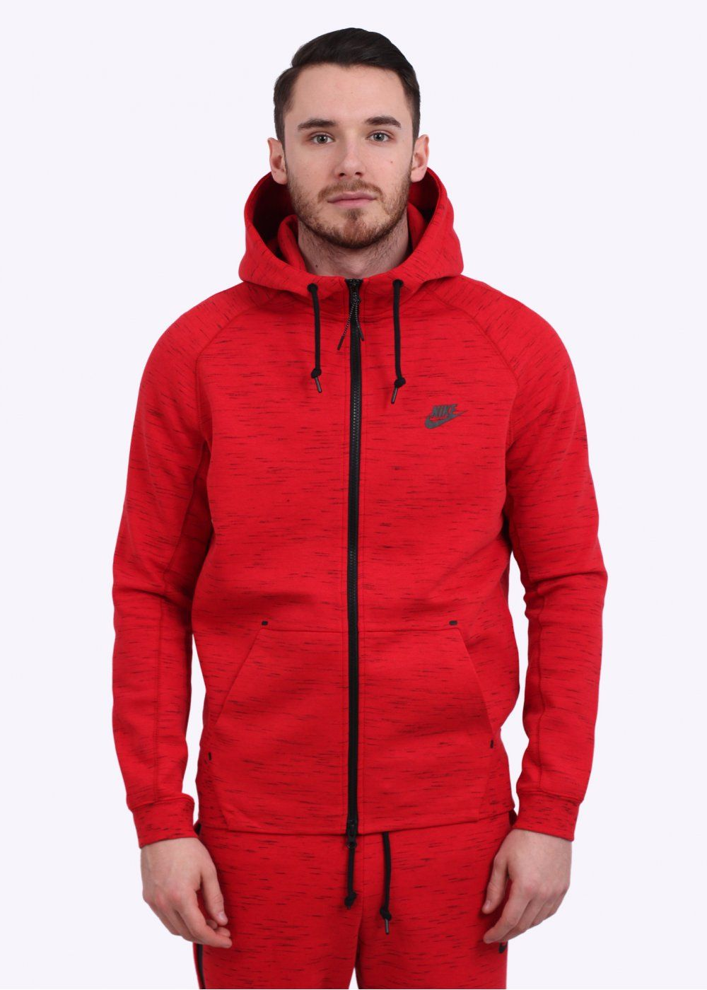 Nike Aw77 Tech Fleece Hoodie Red Clothes In 2019
