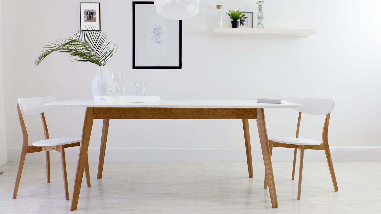 Aver Oak And White Extending Dining Table Oak Dining Chairs