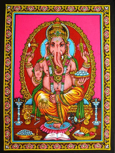 Ganesh wall hanging hindu elephant god Ganesh sequin tapestry decor ethnic art